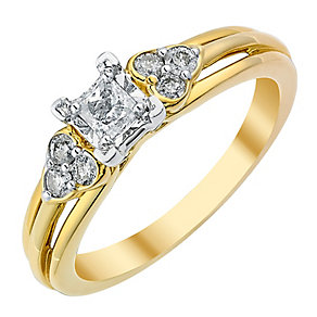 9ct Gold 1/3 Carat Princess Cut Diamond Solitaire Ring - Product number 3817903