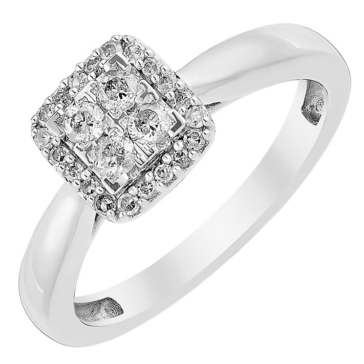 9ct White Gold 1/4 Carat Diamond Square Cluster Ring - Product number 3818233
