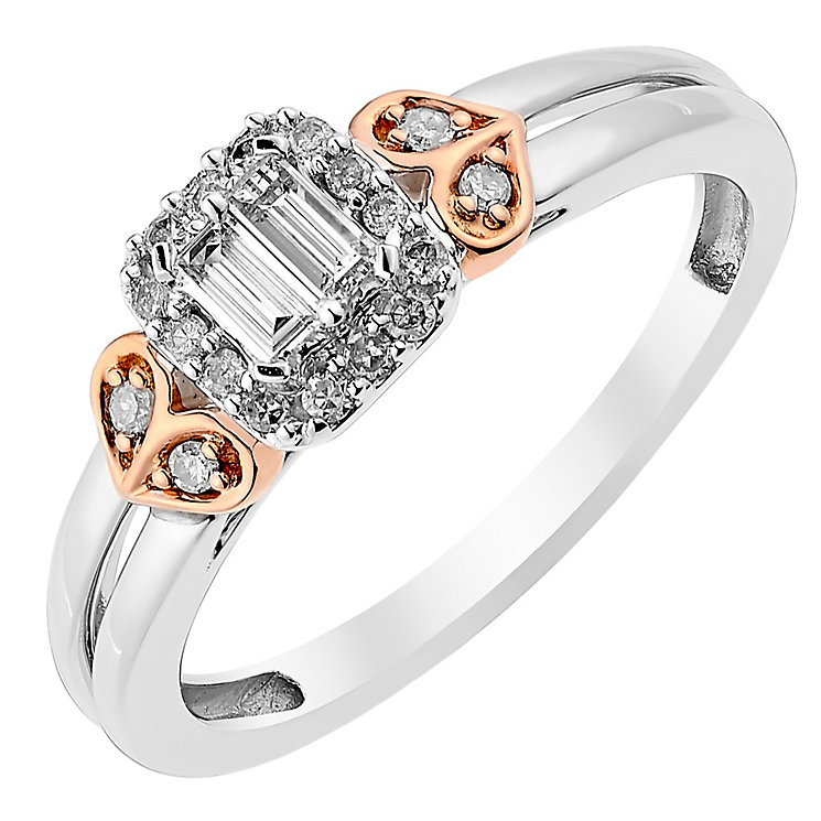 9ct Rose Gold & White Gold 1/5 Carat Baguette Diamond Ring - Product number 3818381