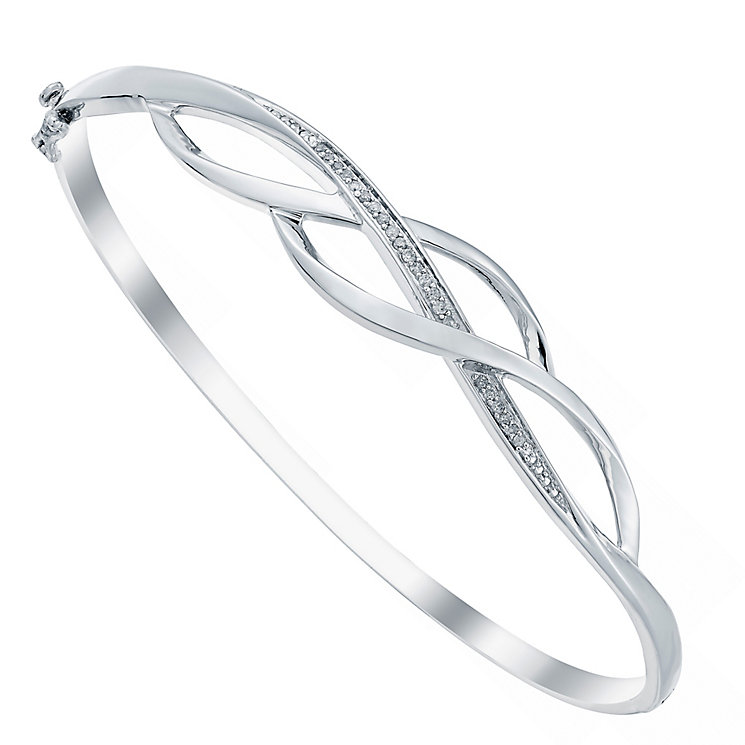 Sterling Silver Diamond Set Twist Bangle - Product number 3818535