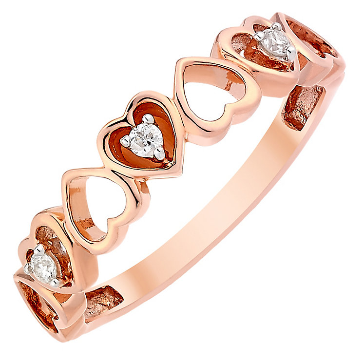 9ct Rose Gold Diamond Set Hearts Eternity Ring - Product number 3818543