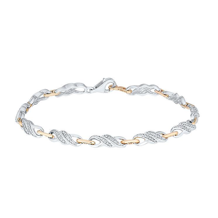 Sterling Silver & 9ct Rose Gold Diamond Set Bracelet - Product number 3818675