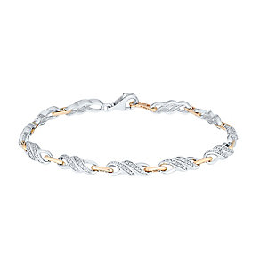 Sterling Silver & 9ct Rose Gold Diamond Set Bracelet - Product number 3818675