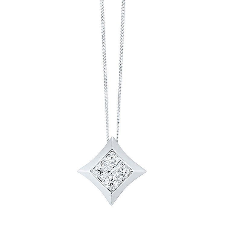9ct White Gold 1/5 Carat Diamond Cluster Pendant - Product number 3818810