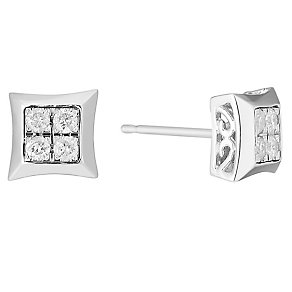 9ct White Gold 1/5 Carat Diamond Cluster Stud Earrings - Product number 3818969