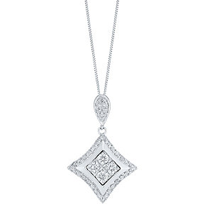 9ct White Gold 1/3 Carat Diamond Cluster Pendant - Product number 3818977
