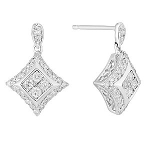 9ct White Gold 1/3 Carat Diamond Cluster Drop Earrings - Product number 3818985