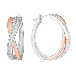 Sterling Silver & 9ct Rose Gold Diamond Hoop Earrings - Product number 3819000