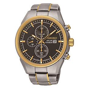 Seiko Solar men's titanium two colour bracelet watch - Product number 3819922