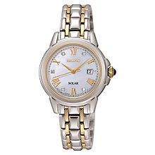 Seiko Solar Ladies' Mother Of Pearl Stone Set Bracelet Watch - Product number 3819930