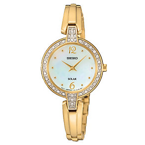 Seiko Solar ladies' mother of pearl stone set bracelet watch - Product number 3819957