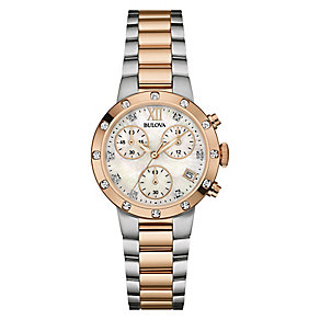 Bulova Ladies' Two Colour Chrome Bracelet Watch - Product number 3820181