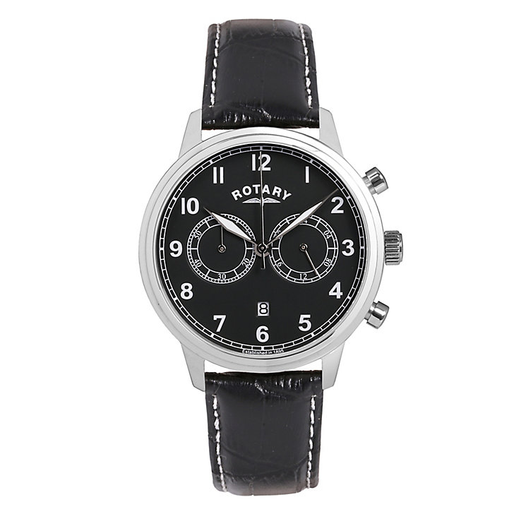 Rotary Men's Stainless Steel Black Strap Watch - Product number 3820246