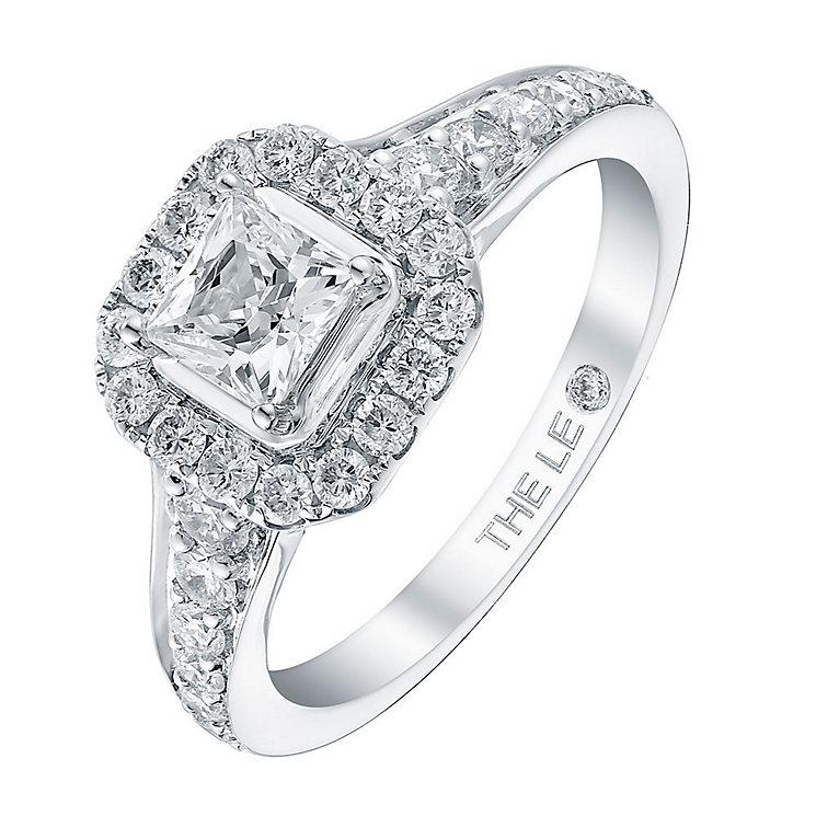 Leo Diamond 18ct white gold 1.10ct I I1 diamond halo ring - Product number 3821943