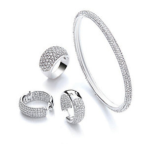 Buckley Rhodium Plated Bangle, Earring and Ring Set - Product number 3822486