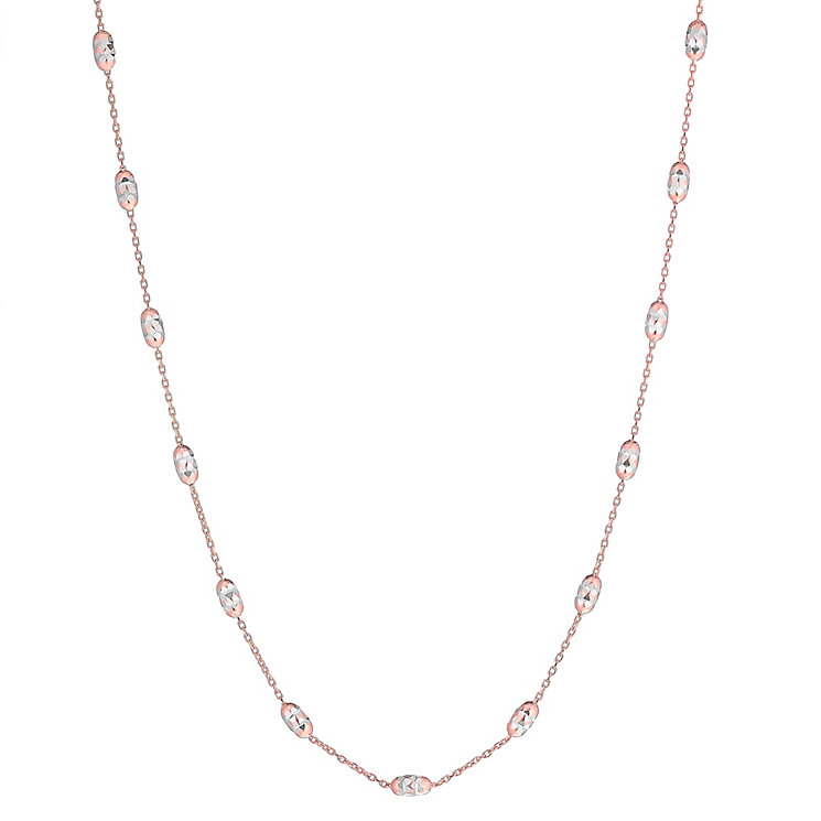 9ct Rose Gold Diamond Cut Station 17inch Necklet - Product number 3822524