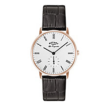 Rotary Men's Kensington Rose Gold Plated White Strap Watch - Product number 3823679