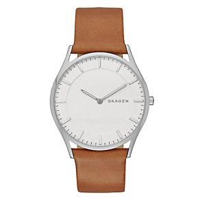 Skagen Holst Men's Stainless Steel Tan Leather Strap Watch - Product number 3824055