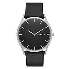Skagen Holst Men's Stainless Steel Black Leather Strap Watch - Product number 3824063