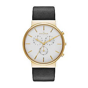 Skagen Men's White Dial Black Leather Strap Watch - Product number 3824535