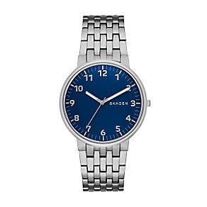 Skagen Men's Blue Dial Stainless Steel Bracelet Watch - Product number 3824616