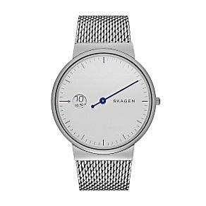 Skagen Men's White Dial Stainless Steel Mesh Bracelet Watch - Product number 3824624