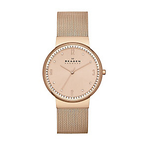 Skagen Ladies' Rose Dial Rose Gold-Plated Bracelet Watch - Product number 3824705