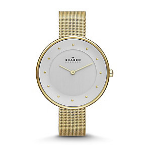 Skagen Ladies' White Dial Gold-Plated Mesh Bracelet Watch - Product number 3824764