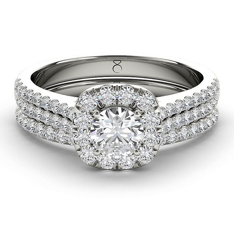 The Diamond Story 18ct White Gold 1ct Halo Bridal Set - Product number 3829367
