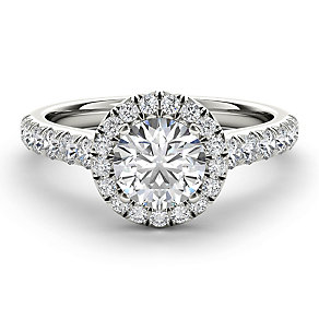 The Diamond Story 18ct White Gold 1.5ct Round Halo Ring - Product number 3829499