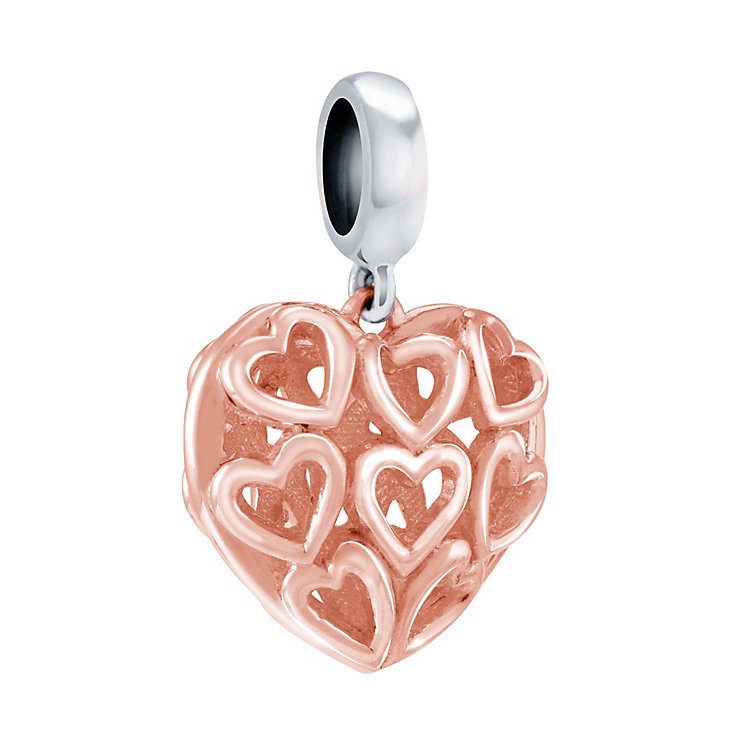 Chamilia Rose Gold Caged Hearts Bead - Product number 3829898
