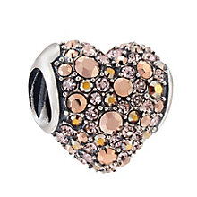 Chamilia Rose & Peach Pave Swarovski  Gems Heart Bead - Product number 3829901