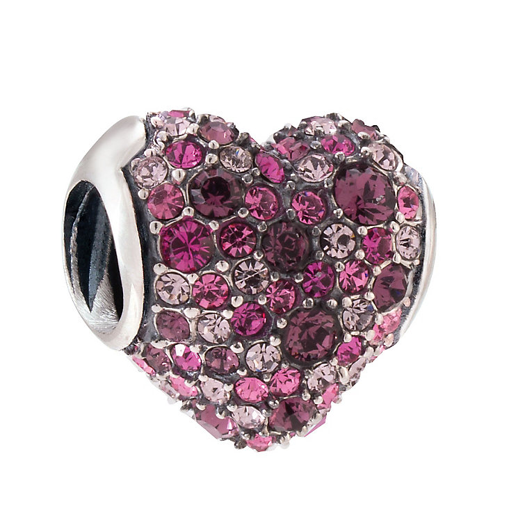 Chamilia Silver Amethyst & Fuchsia Swarovski Heart Bead - Product number 3829936