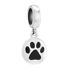 Chamilia Sterling Silver Jet Enamel Petite Paw Charm Bead - Product number 3830071