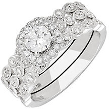 Neil Lane 14ct White Gold 1.04ct Diamond Halo Bridal Set - Product number 3831531