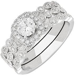 Neil Lane 14ct White Gold 1.04ct Diamond Halo Bridal Set - Product number 3831531