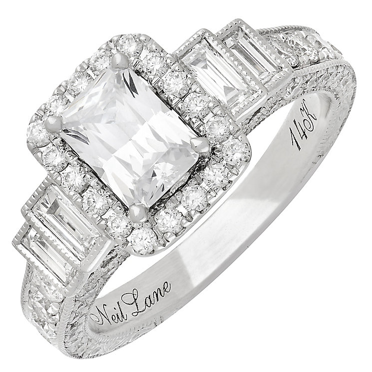 Neil Lane 14ct White Gold 2.09ct Diamond Halo Ring - Product number 3831965
