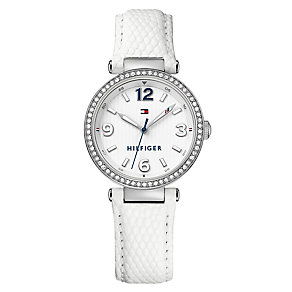 Tommy Hilfiger Ladies' Stone Set White Leather Strap Watch - Product number 3837343