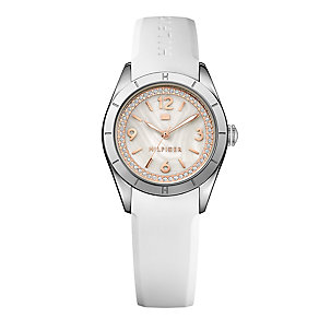 Tommy Hilfiger Ladies' Stone Set White Rubber Strap Watch - Product number 3837351