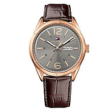 Tommy Hilfiger Men's Black Dial Brown Leather Strap Watch - Product number 3837378