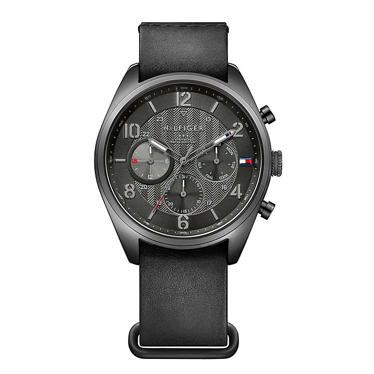 Tommy Hilfiger Men's Black Dial Black Rubber Strap Watch - Product number 3837386