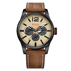Boss Orange Men's Grey Dial Brown Leather Strap Watch - Product number 3838005