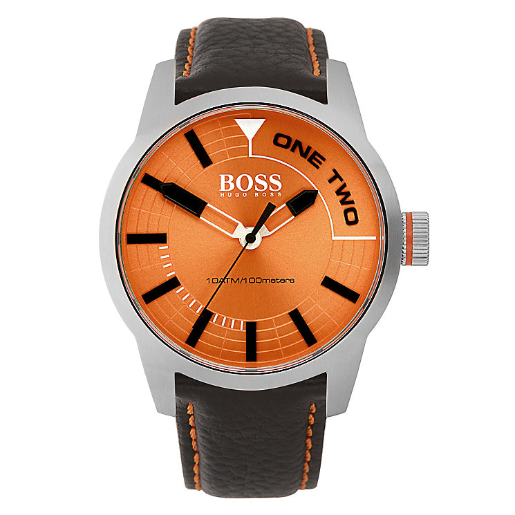 boss orange men s orange dial black leather strap watch h samuel boss orange men s orange dial black leather strap watch product number 3838021