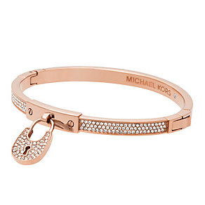 Michael Kors Rose Gold Tone Pave Padlock Bangle - Product number 3839001