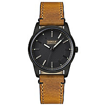 Men's Jarrow Black Ion Plated Black Dial Leather Strap Watch - Product number 3840239