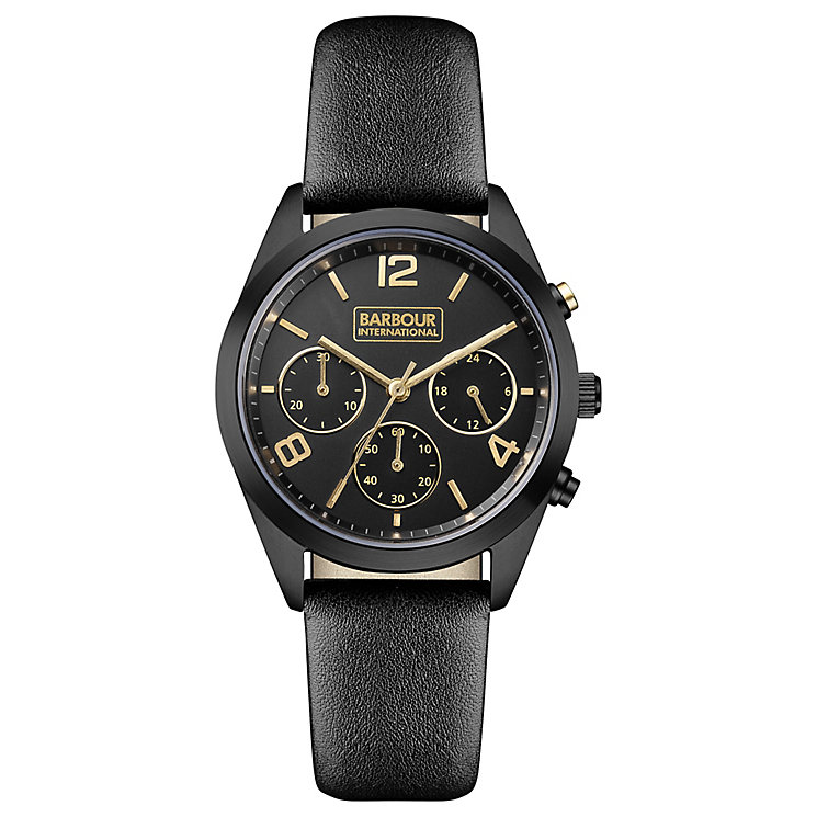 Barbour Cleadon Ladies' Black Ion Plated Leather Strap Watch - Product number 3840301