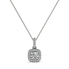 The Diamond Story 18ct White Gold 0.33ct Halo Pendant - Product number 3841227