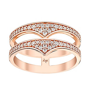 Amanda Wakeley Rebel rose gold-plated silver double ring - Product number 3846202