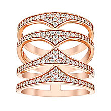 Amanda Wakeley Rebel rose gold-plated silver quadruple ring - Product number 3846342