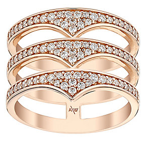 Amanda Wakeley Rebel rose gold-plated silver triple ring - Product number 3846946
